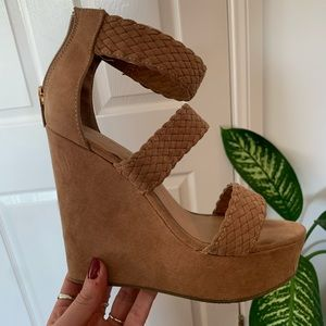Tan braided wedges from Bamboo